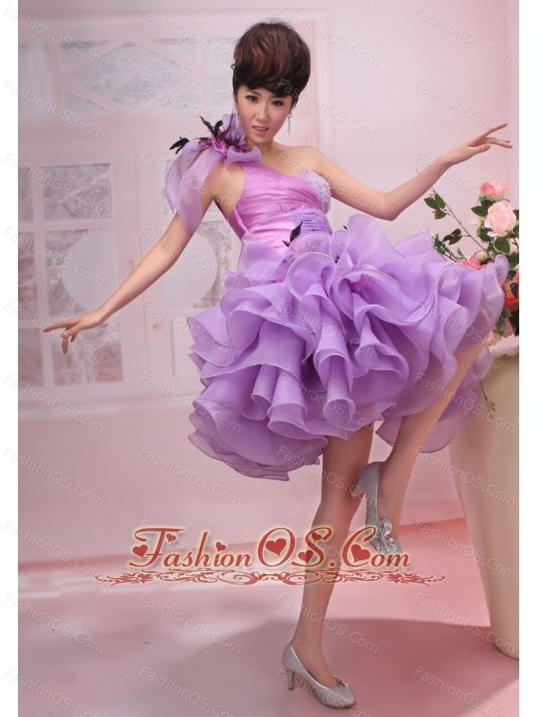 Hand Made Flowers and Ruched Layers Decorate Bodice One Shoulder Knee-length 2013 Prom Dress