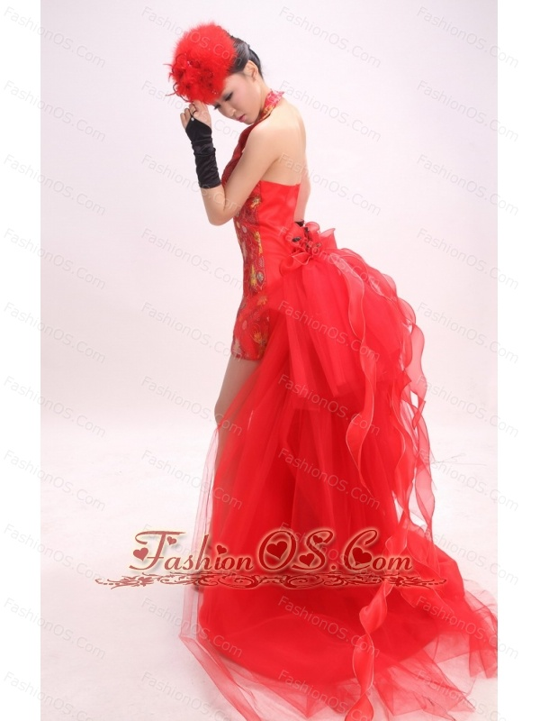 High-low Halter and Red For 2013 Prom Dress