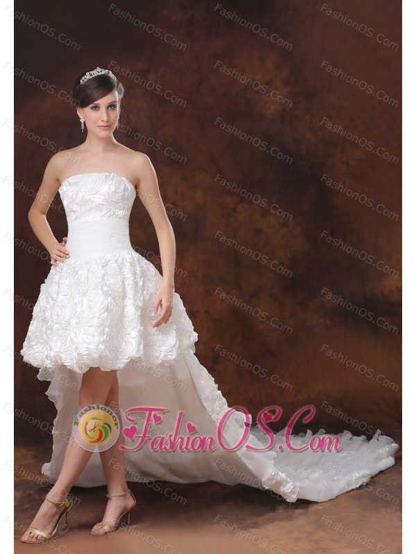 High-low White Wedding Dress For Wedding Party With Fabric With Rolling Flowers