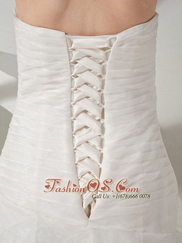 Lace and Ruch Decorate Bodice A-line Sweetheart Neckline Court Train Organza Pick-ups Wedding Dress For 2013