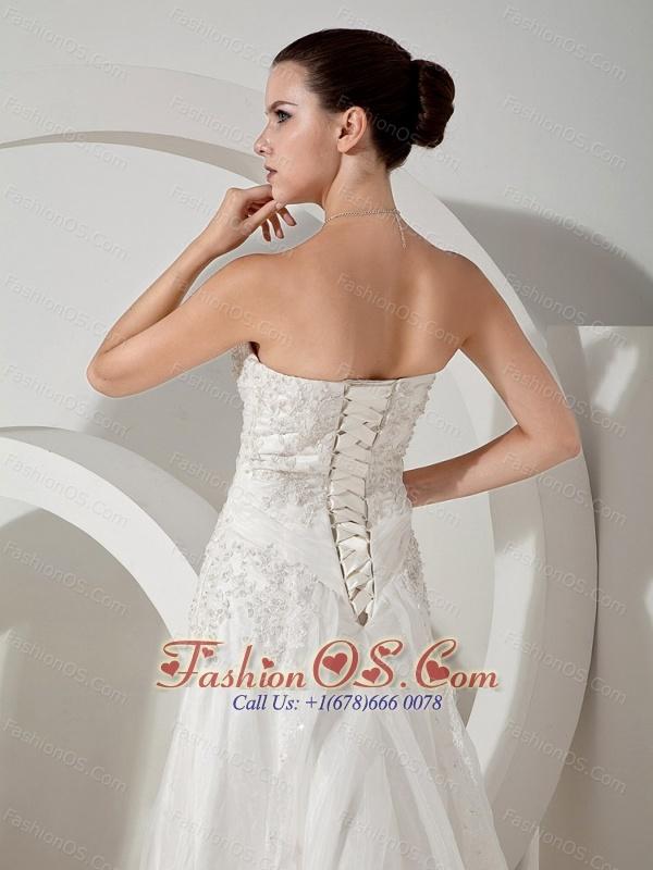 Lace Decorate Bodice Court Train Strapless Organza and Satin 2013 Wedding Dress