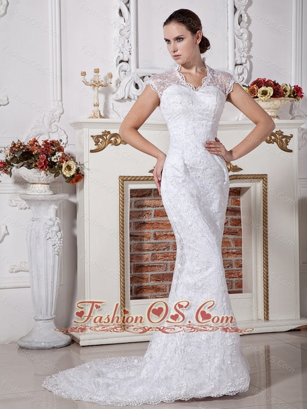 Lace Decorate Bodice Mermaid V-neck Brush Train 2013 Wedding Dress For Modest Style
