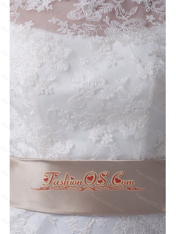 Lace Mermaid Scoop Sashes / Ribbons Brush / Sweep 2013 Wedding Dress