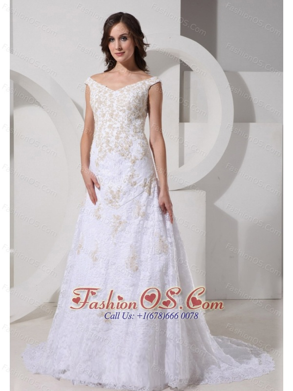 Lace White Off The Shoulder Neckline Brush Train Wedding Dress With Appliques Decorate
