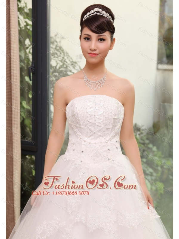 Lace With Beading Decorate Bodice Tulle A-line Floor-length 2013 Wedding Dress