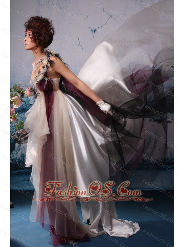 Multi-color Feather Decorate One Shoulder Asymmetrical Stylish Prom Gowns