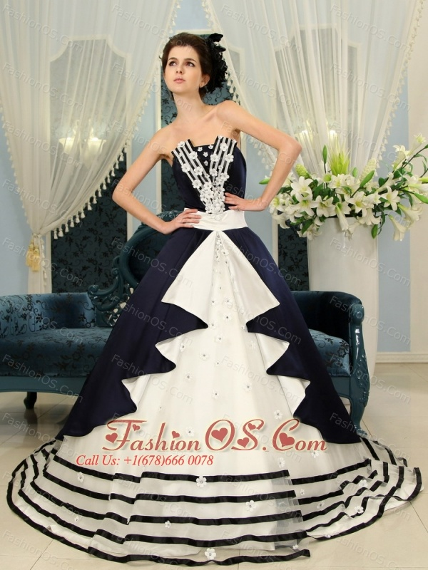 Navy Blue And White Ball Gown Strapless Court Train Wedding Dress ...