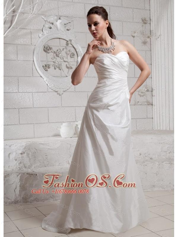 Sweetheart Ruch Brush Train For Custom Made Wedding Dress
