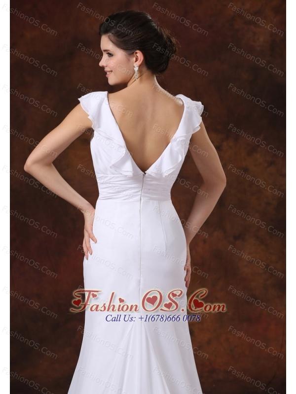 V-neck Ruched Bodice Brush Train Custom Made For Wedding Dress