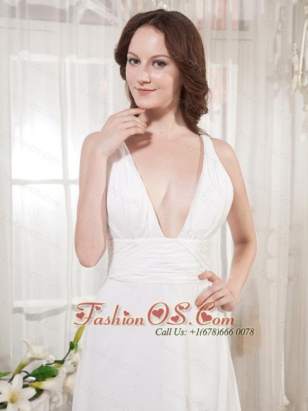 V-neck Wedding Dress With High Slit Brush Train