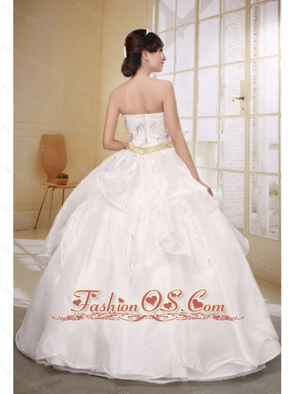 White Wedding Dress With Ball Gown Strapless Neckline Beaded Decorate Bodice