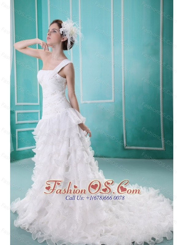 2013 A-line Ruffles One Shoulder Wedding Dress With Appliques Organza
