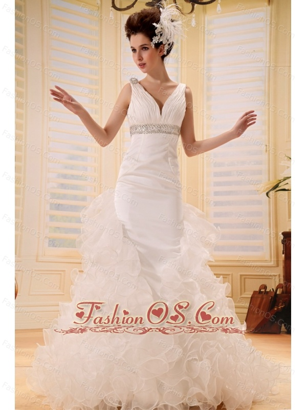 2013 A-line V-neck Wedding Dress With Ruch and Beading In Wedding Party