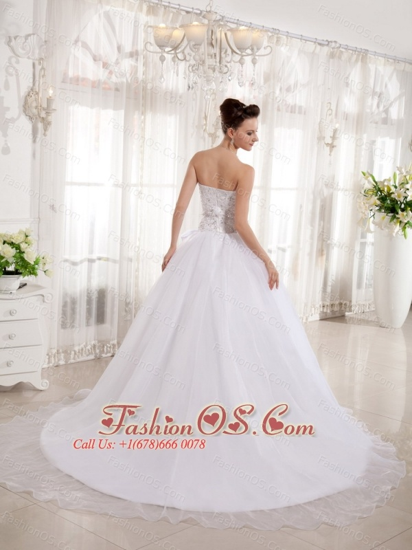 2013 Custom Made A-line Sweetheart Wedding  Dress With Lace Organza