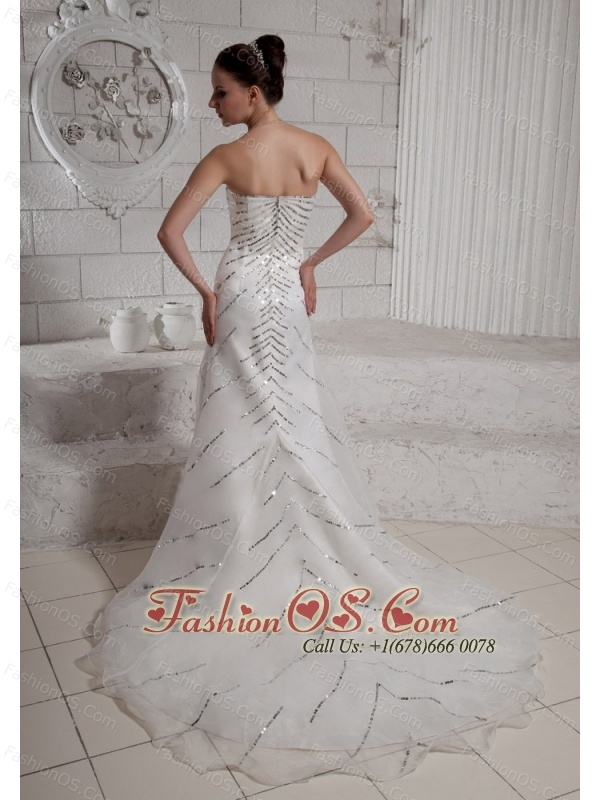 2013 Sequins Sweetheart Wedding Dress With Court Train For Custom Made