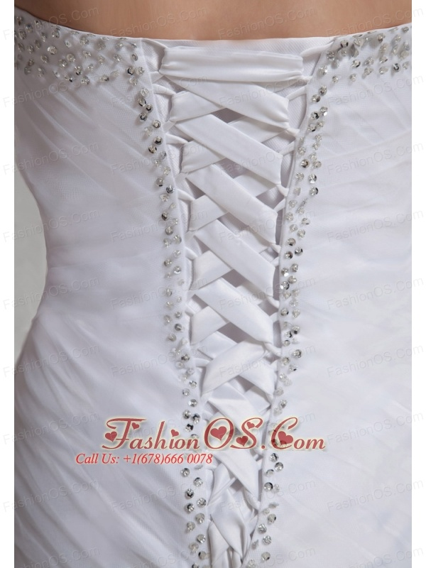 2013 Sweetheart Beaded Feather Mini-length Wedding Dress For Custom Made