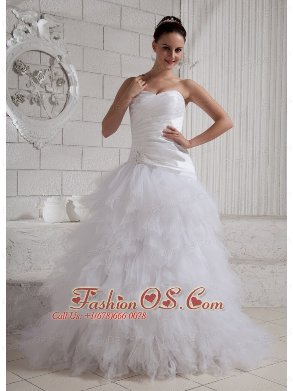 2013 Sweetheart Beading Ruch and Ruffles Wedding Dress With Brush Train