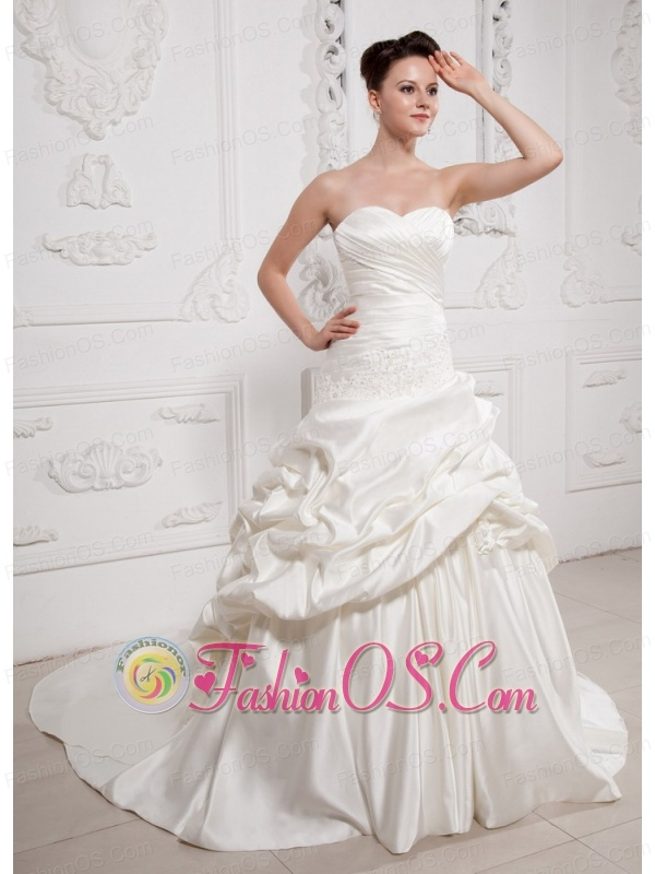 A-line Sweetheart Appliques and Ruch Wedding Dress With Pick-ups