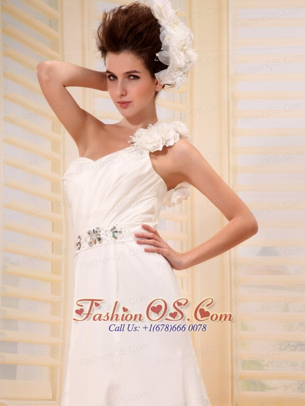 Affordable One Shoulder Beading and Ruch Wedding Dress With Hand Made Flowers