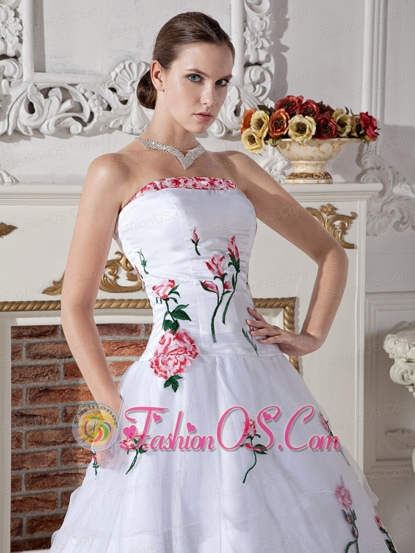 Ball Gown Wedding Dress With Embroidery and Brush Train