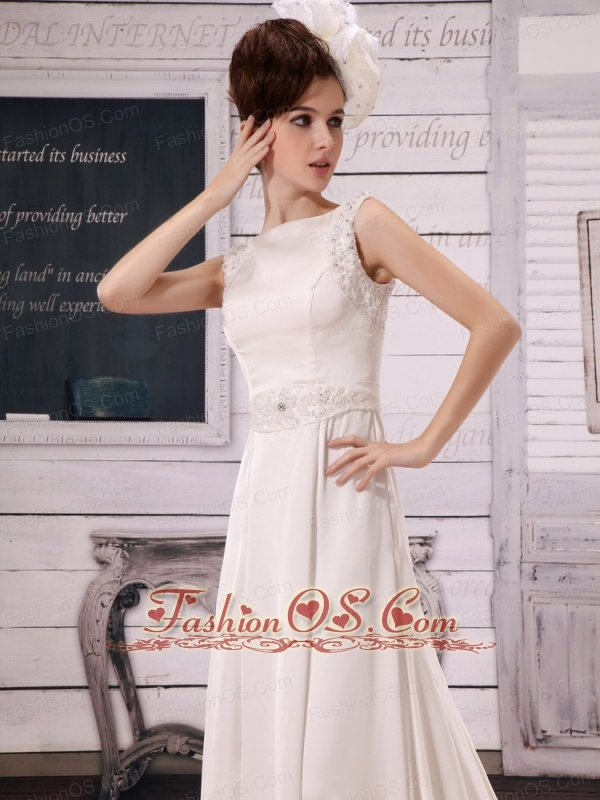 Beaded Decorate Bateau Neckline White Wedding  Dress For Prom With Court Train