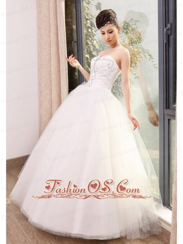 Beaded Decorate Bodice Sweetheart Neckline Tulle Floor-length 2013 Wedding Dress