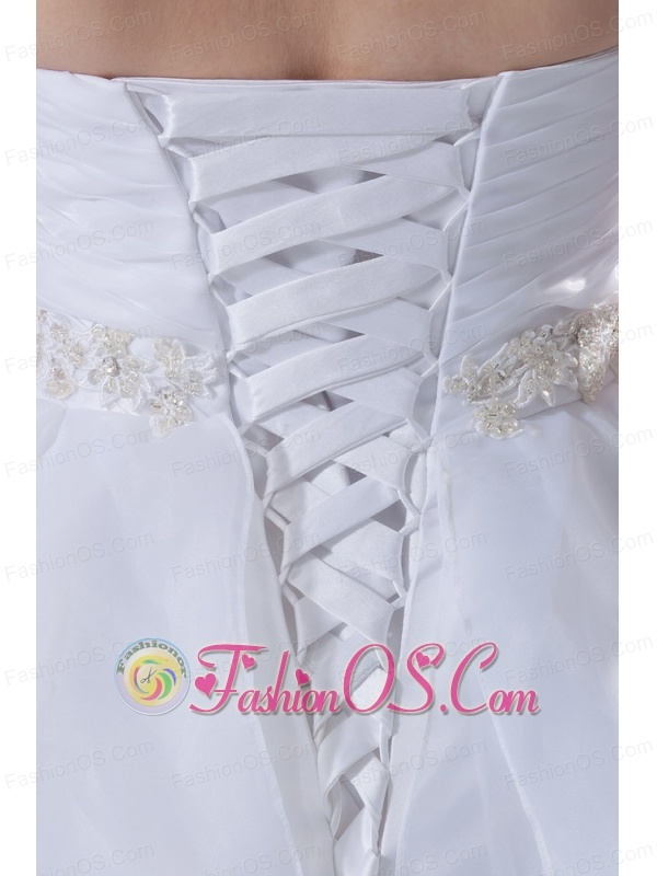 Beaded decorate waist wedding dress for 2013 organza sweetheart a line