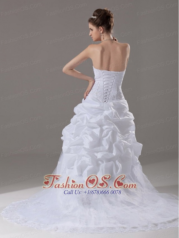Beading and Appliques Taffeta and Tulle Sweetheart Wedding Dress Court Train A-Line