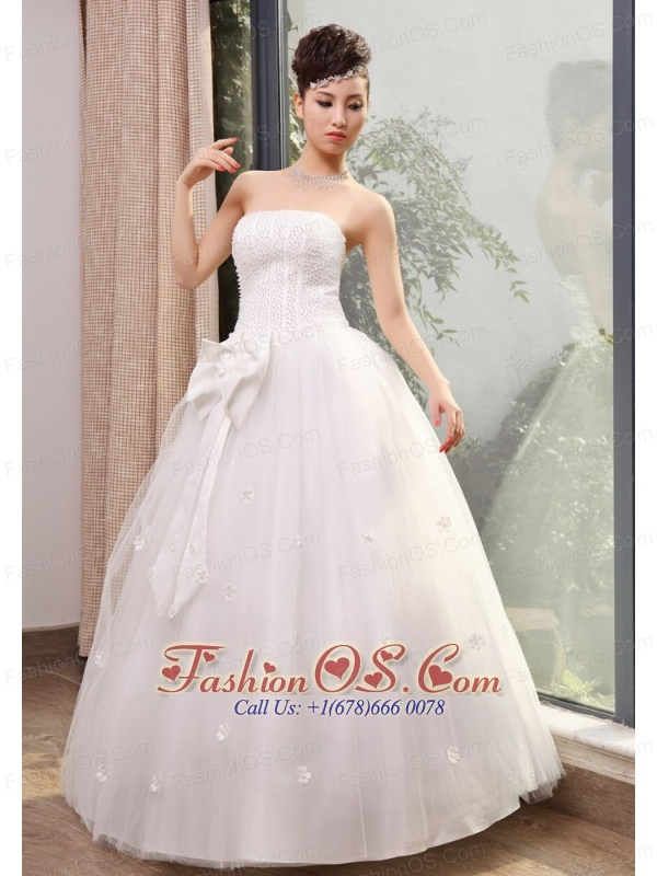 Beading and Hand Made Flowers Decorate Bodice Bowknot A-line Floor-length Wedding Dress For 2013