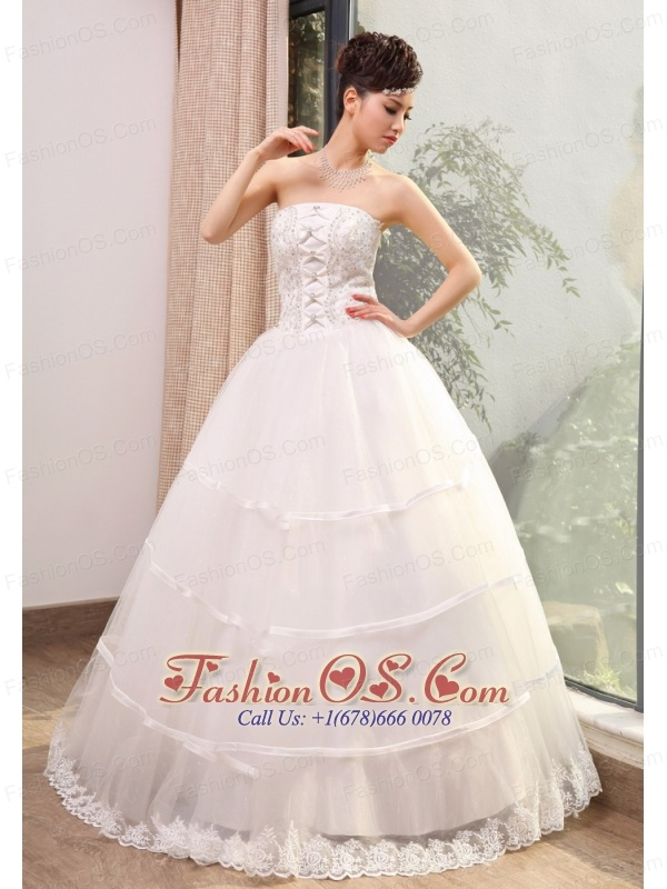Beading and Lace Decorate Bodice A-line Taffeta and Organza Floor-length 2013 Wedding Dress