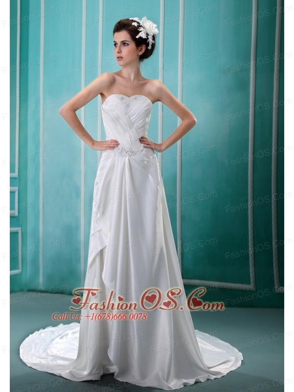 Beading and Ruch Sweetheart Neckline Court Train Taffeta 2013 Wedding Dress