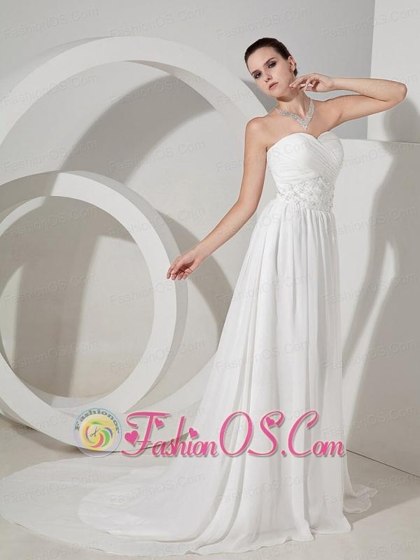 Beading and Sequins Decorate Waist Sweetheart Neckline Chiffon Brush Train Wedding Dress For 2013