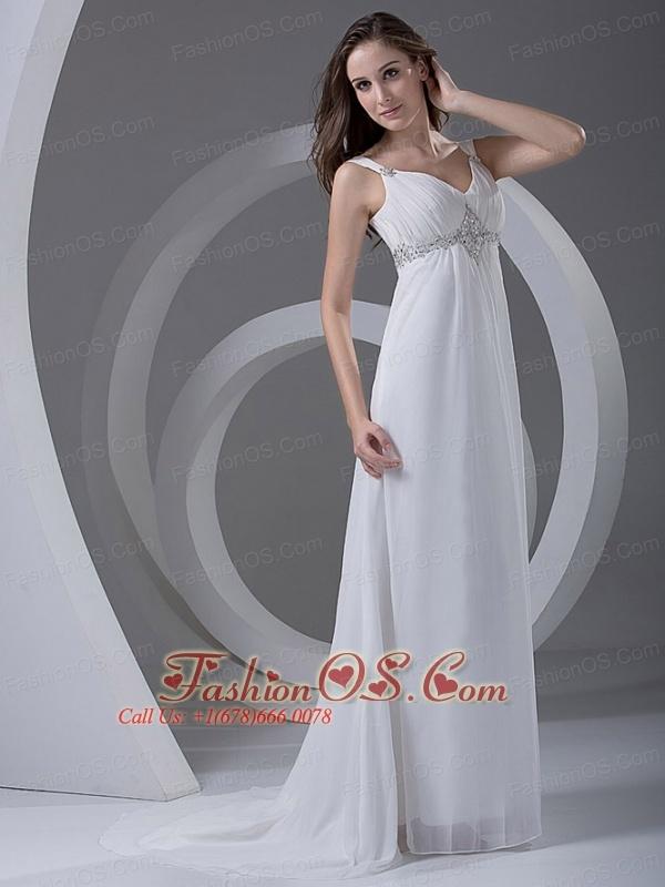 Beading Chiffon Romantic Court Train Straps Empire Wedding Dress
