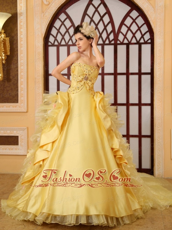 Beading Organza A-Line Strapless Cathedral Train Yellow Wedding Dress