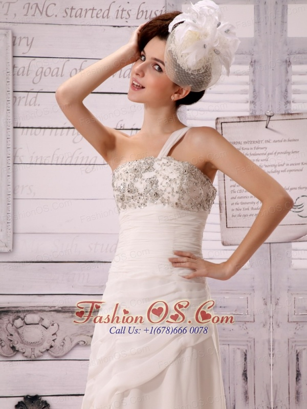 Beautiful Beaded Decorate Bust One Shoulder Wedding Dress With Watteau Train For Custom Made