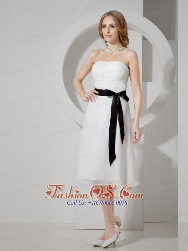 Black Sash Strapless Tea-length Chiffon Ruch 2013 Wedding Dress