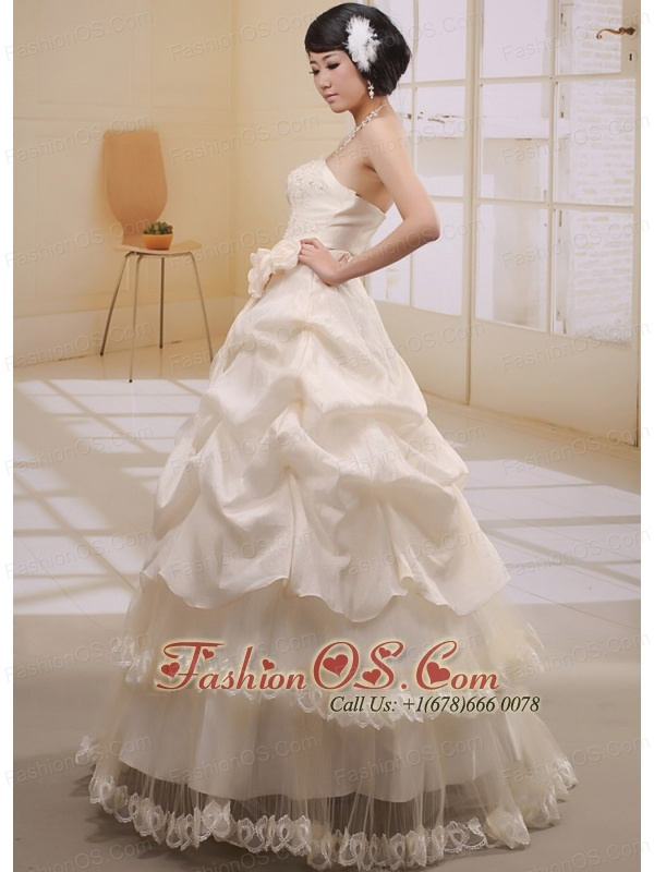 Champagne Pick-ups Appliques Ruffled Layeres 2013 Wedding Gowns With Hand Made Flowers