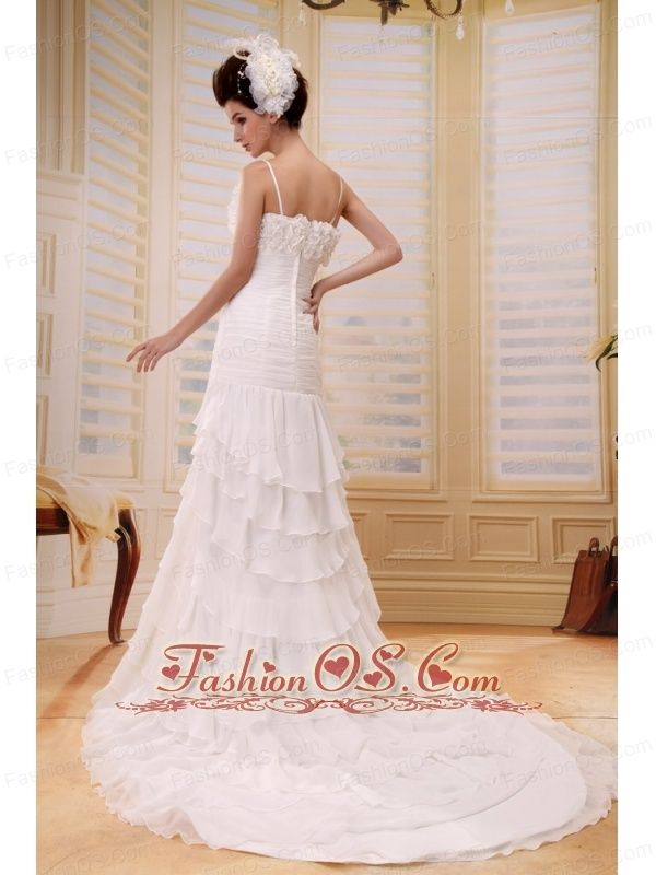 Column Ruffled Layeres Hand Made Flowers Wedding Dress With Chiffon In Wedding Party