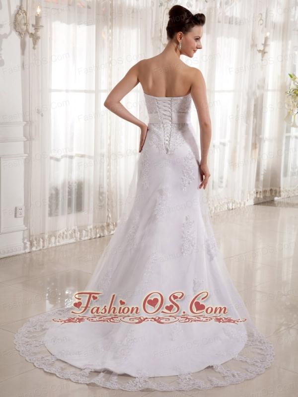 Column Strapless Sash Court Train Wedding Dress With Lace Court Train 2013