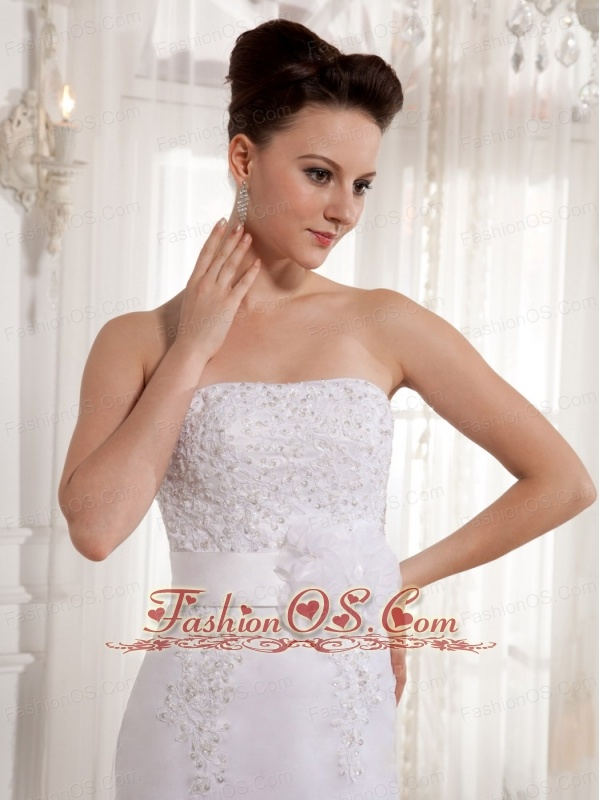 Column Strapless Sash Court Train Wedding Dress With Lace Court Train 2013