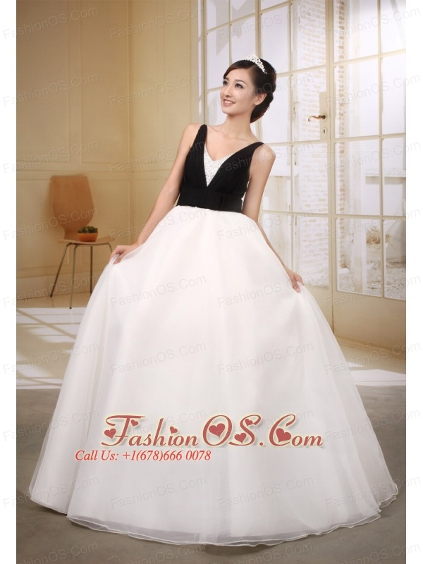 Custom Made Black and White Ball Gown Wedding Dress With V-neck Neckline Floor-length