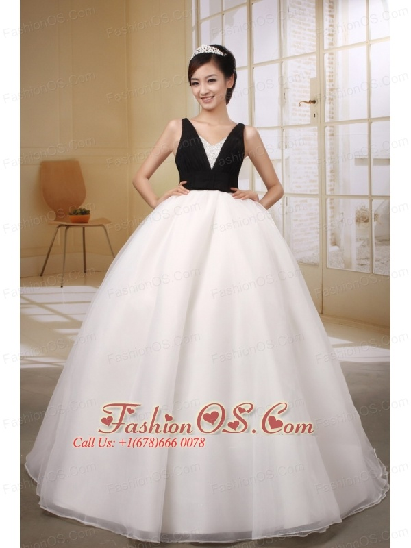 Custom Made Black and White Ball Gown Wedding Dress With V-neck ...
