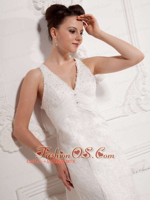 Custom Made Column V-neck Lace Wedding Dress With Organza