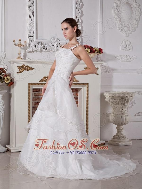 Custom Made Spaghetti Straps Princess Wedding Dress With Appliques Decorate Organza