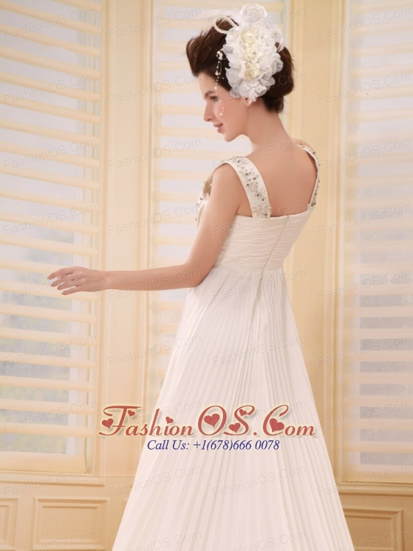 Customize Beaded Decorate Straps For Pleat Chiffon Wedding Dress With Court Train