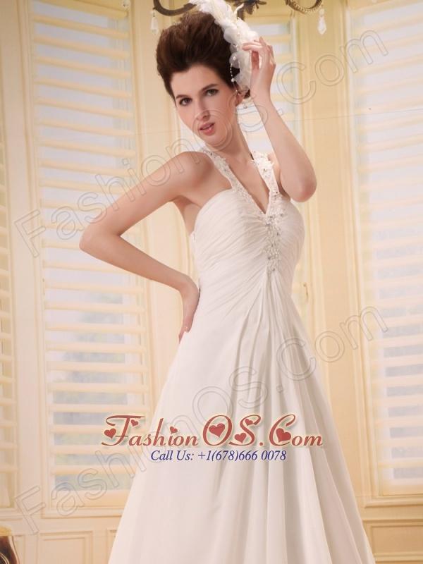 Elegant Beaded Decorate Straps V-neck Wedding Dress With Chapel Train Chiffon For Custom Made