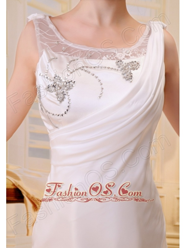 Embroidery and Beading Decorate Bodice Column Chiffon Brush Train 2013 Prom / Evening Dress