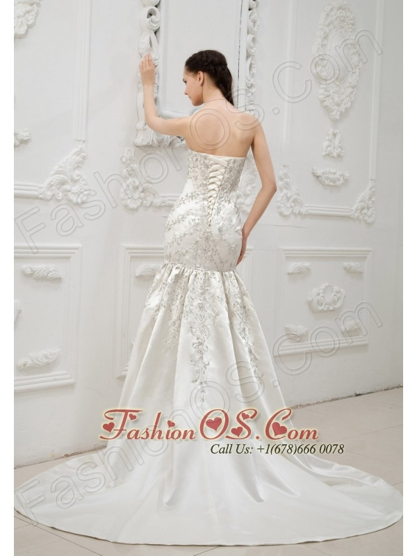Embroidery With Beading Decorate Bodice Mermaid Brush Train Sweetheart Neckline 2013 Wedding Dress