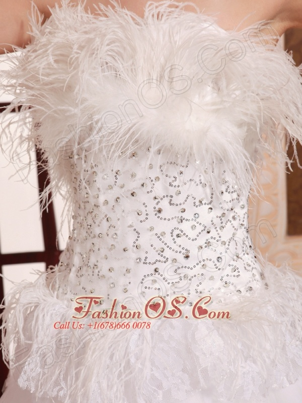 Feather Strapless A-line Mini-length Prom Gowns With Tulle Ruffles Customize