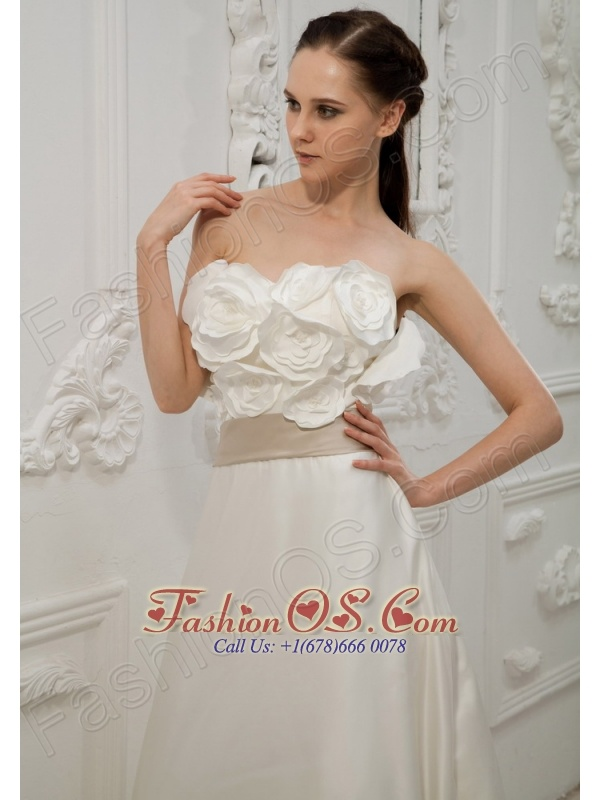 Hand Made Flowers Satin Strapless Brush Train 2013 Wedding Dress